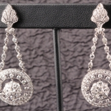 Diamond Circle Hanging Earrings